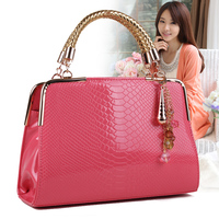 Hot Sale Fashion Patent Leather Candy Color Women S Summer Handbag Brand Design Crocodile Vein Pattern