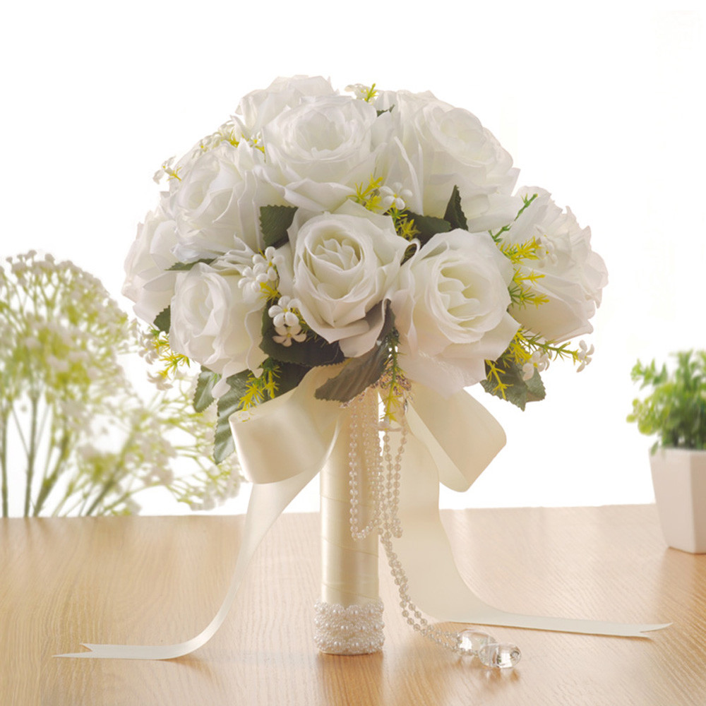 Wedding Bouquet White Rose Crystal Artificial Silk Flowers Pearl ...