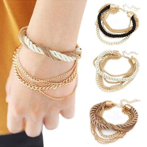 Fashion Jewelry Gold Color Chain Braided Rope Elegant Multilayer Bracelet Hand Chain for Women 5U25 6SPY 7IGO
