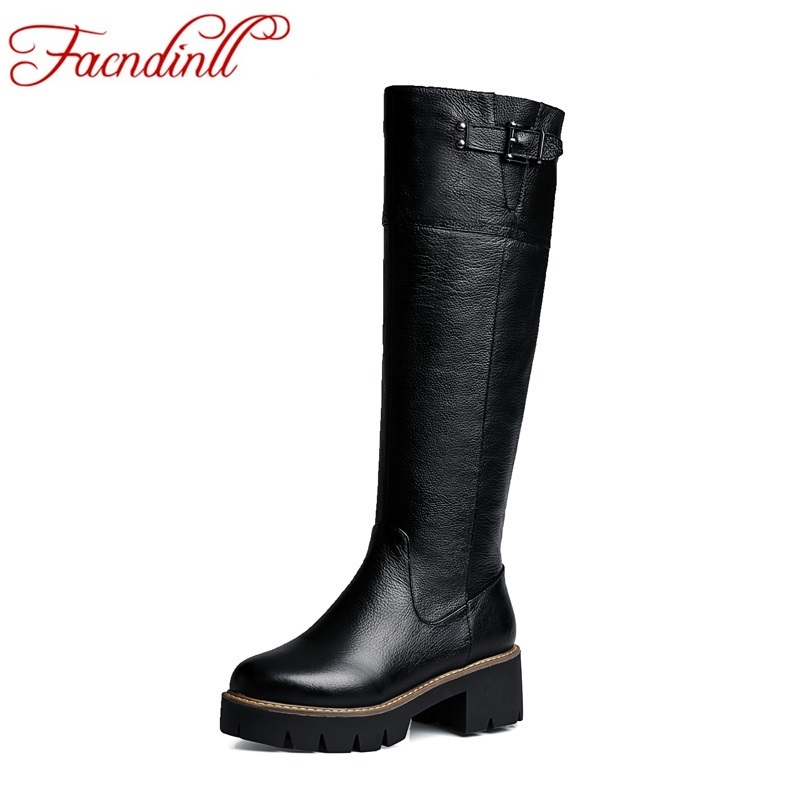 ФОТО genuine leather winter boots platform buckle women motorcycle boots 2016 new autumn shoes snow long boots women knee high boots