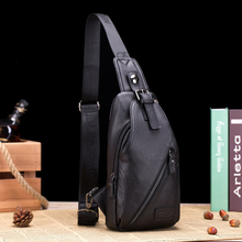 Retro 2017 New Chest Bag Pack For Men Female Genuine Leather  Sling Casual Crossbody Business Single Shoulder Strap