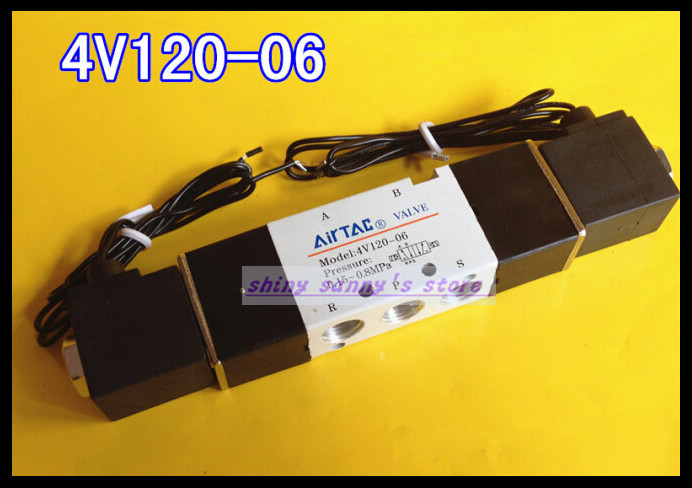 1Pcs 4V120-06 AC220V 5Ports 2Position Double Solenoid Pneumatic Air Valve 1/8 BSPT Brand New 1pcs 4v110 06 ac220v lamp solenoid air valve 5port 2position bsp