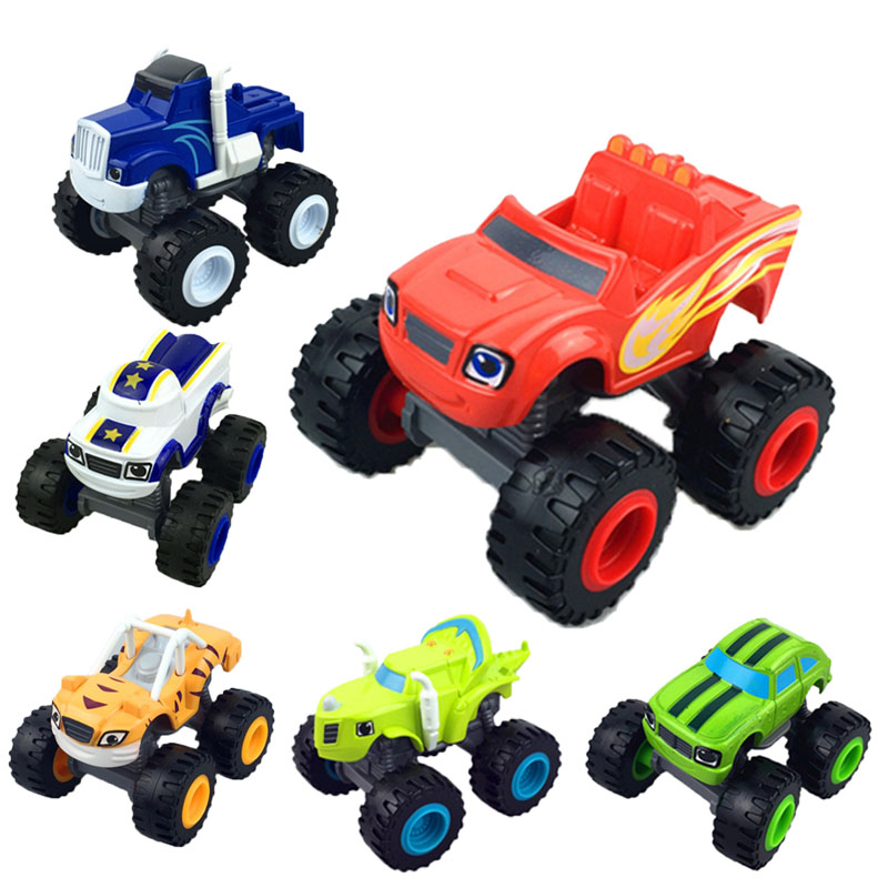 Anime Figure Blazear Monsteres Machines Big Foot Truck Car Cartoon PVC Cars Model Hot Toys For Children Birthday Christmas Gift hot 9pcs lot anime junior vampirina the vamp batwoman girl action toy figure pvc model toys for kids christmas birthday gift hot