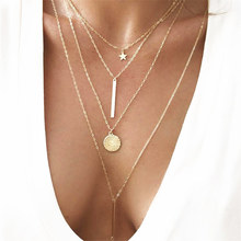 ZCHLGR Bohemian Long Pendant Necklaces Lady Vintage Gold Star Star Necklace 4 Multilayer Necklace Statement Jewelry vintage multilayer pendant necklaces for women butterfly moon star charm gold choker necklace bohemian jewelry party