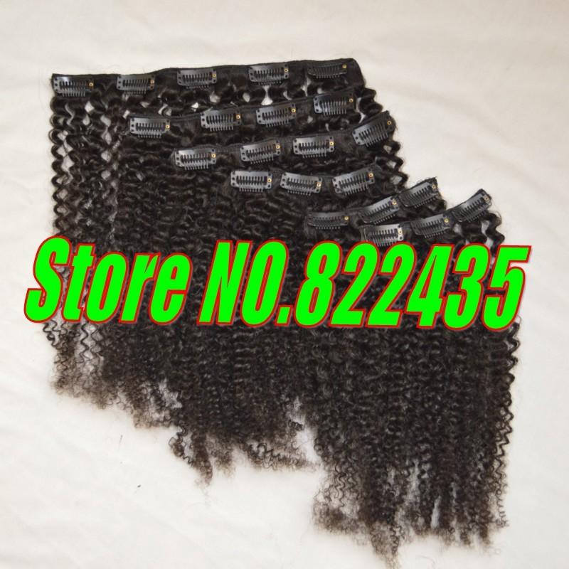 100% Brazilian Human Hair Clip in Hair Extensions 6pcs Set 100-125gram Brazilian Virgin Kinky Curly Hair Weave Full Head_conew1