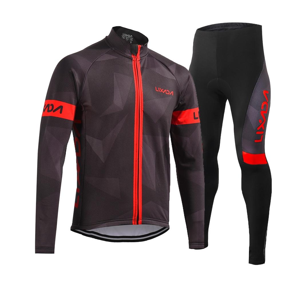 Lixada Men s Winter Thermal Fleece Cycling Clothing Set Long Sleeve Windproof Cycling Jersey Coat with