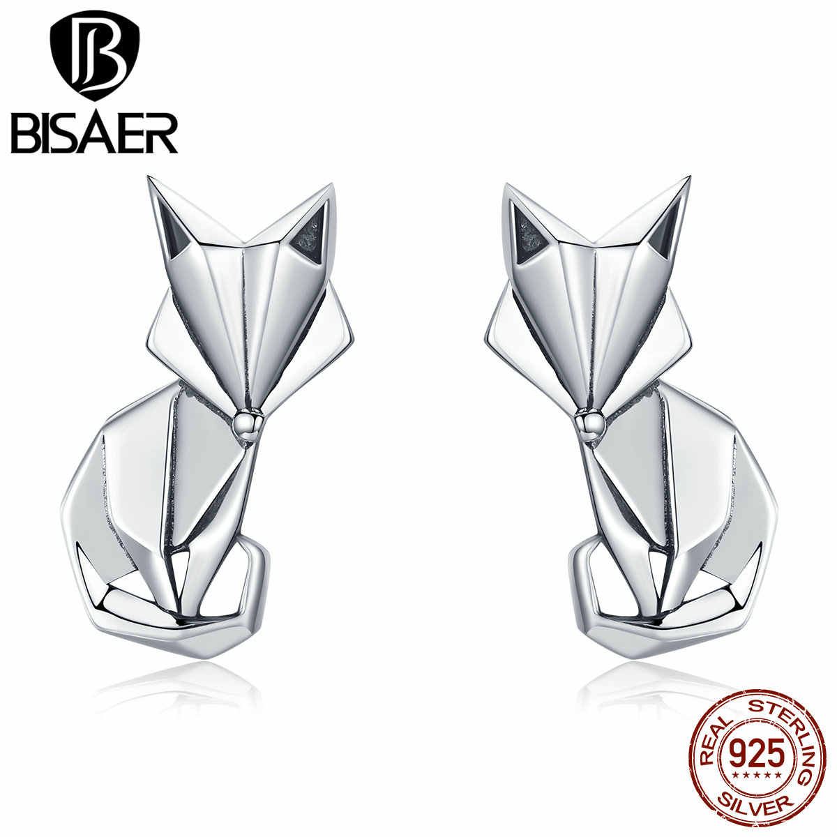 BISAER High Quality 925 Sterling Silver Folding Fox Silver White CZ Stud Earrings Jewelry Making Gifts for Lover&Mother  HSE526