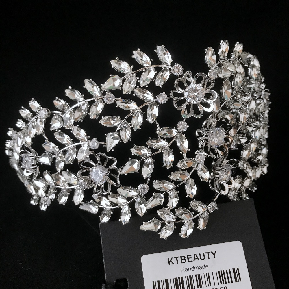 Rhinestone Custom Made Crystal Zircon Flower Tiara Handmade Hairband Royal Bridal Wedding Dressing Crown Accessory Women