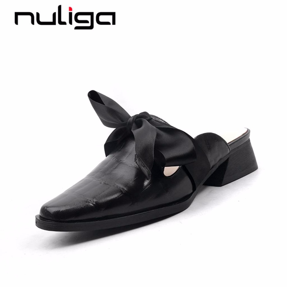Nuliga solid square toe slip on med heels butterfly-knot mules korean girls sweetwear basic big size woman cow leather pumps L33