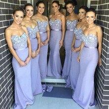 Lovely 2016 Purple Chiffon vestido de dama de honra Sweetheart Lace Appliques Mermaid Long Bridesmaid Dresses
