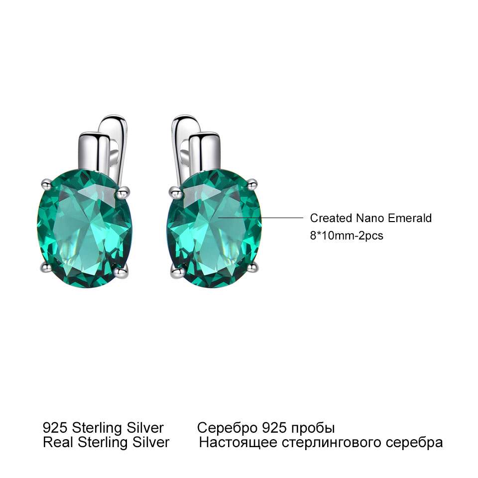 Купить с кэшбэком UMCHO Oval Emerald Gemstone Clip Earrings for Women Solid 925 Sterling Silver Earrings Princess Wedding Engagement Fine Jewelry