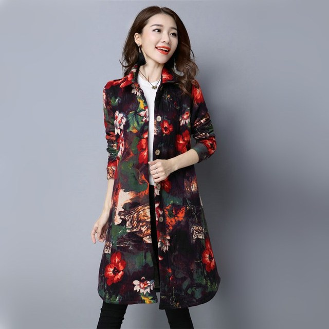 Women Autumn Winter Fashion Floral Flowers Print Deep Color Print Thick Cotton Linen Long Coat Stand Collar Casual