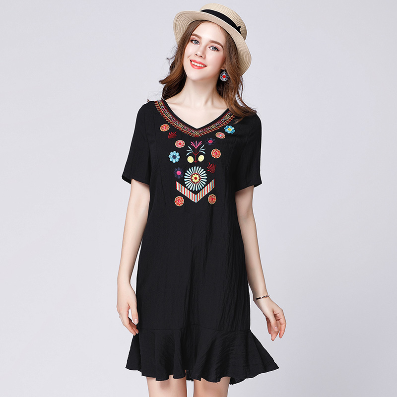 2017 plus size fashion women embroidery summer cotton dress ...