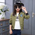 2017 Girls spring new jacket tide children spring  baseball service army green long sleeves shirt cardigan casual coat