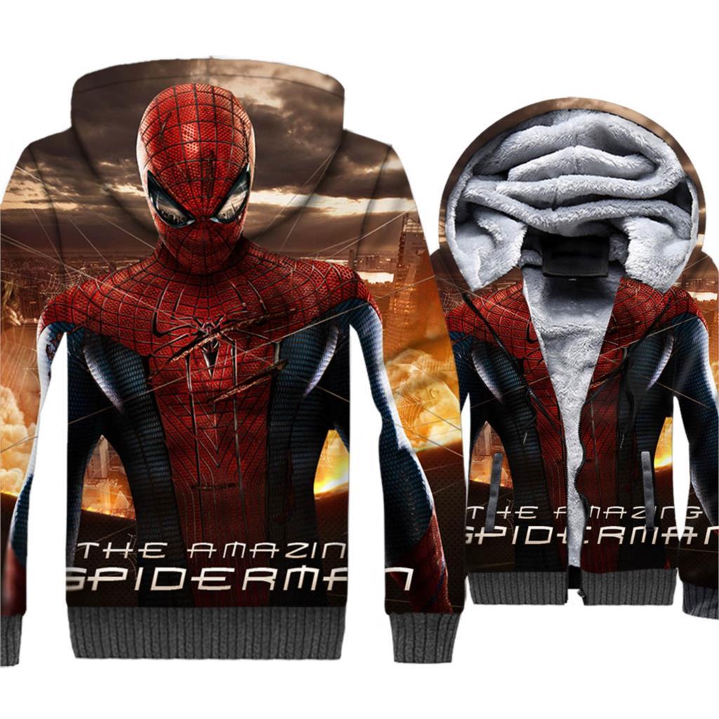 2018 New Arrival Streetwear Hoodies For Men Autumn Winter High Quality Thick Coat 3D Sweatshirt Male Superhero Spiderman Hoodie