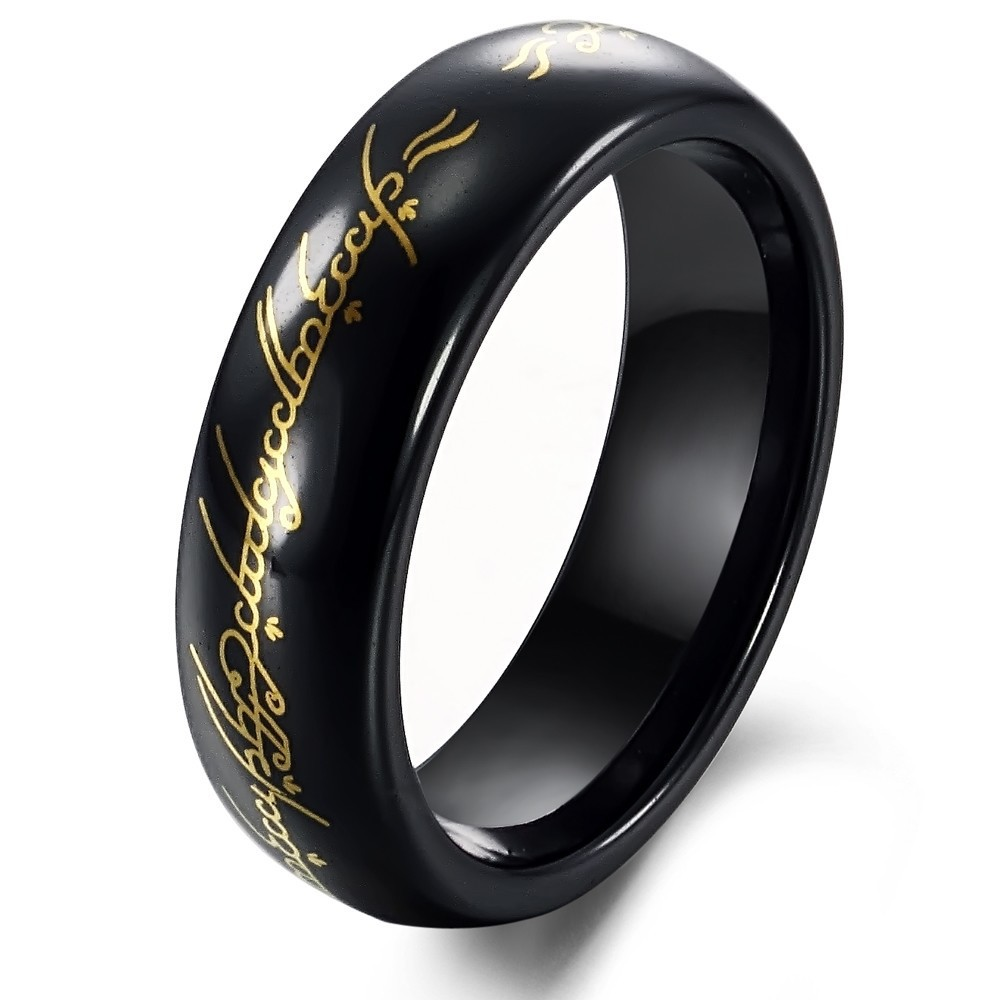 Tungsten Black & Gold Lord of Ring Mens Ring Size 6 10-in