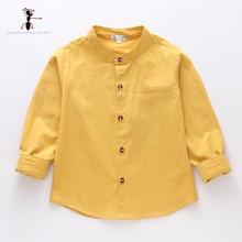 Kung Fu Ant/ г., Весенняя однотонная Повседневная рубашка для мальчиков с круглым вырезом, хлопок рубашка с длинными рукавами для школьников, для маленьких мальчиков, 24 месяца