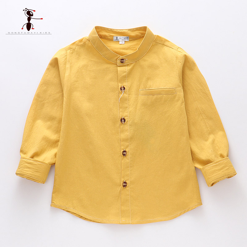 Kung Fu Ant 2019 Spring O-Collar Solid Color Casual 100%Cotton Boys Shirt Full Sleeve 24M School Baby Boy Shirt