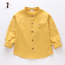 Kung Fu Ant 2019 Spring O-Collar Solid Color Casual 100%Cotton Boys Shirt Full Sleeve 24M School Baby Boy