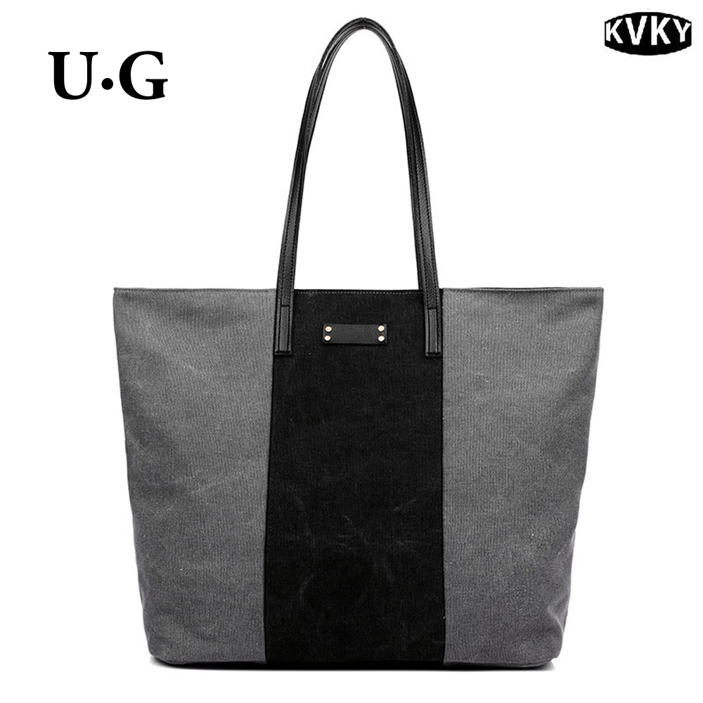 Hot Original KVKY Stitching Canvas Bag Large Capacity Messenger Retro Fashion Hit Color Handbag Portable Shoulder