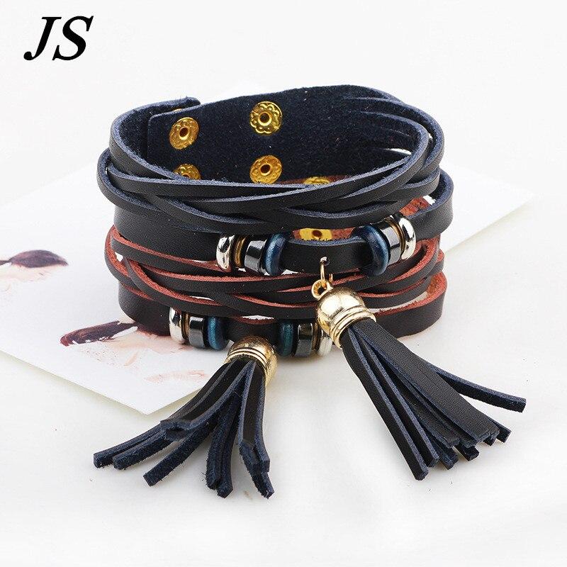 JS 2016 Trendy Female Luxury Genuine Leather Tassel Bracelet Femme Handmade Bohemian Braslet Woman Multi-layer Jewelry WB002