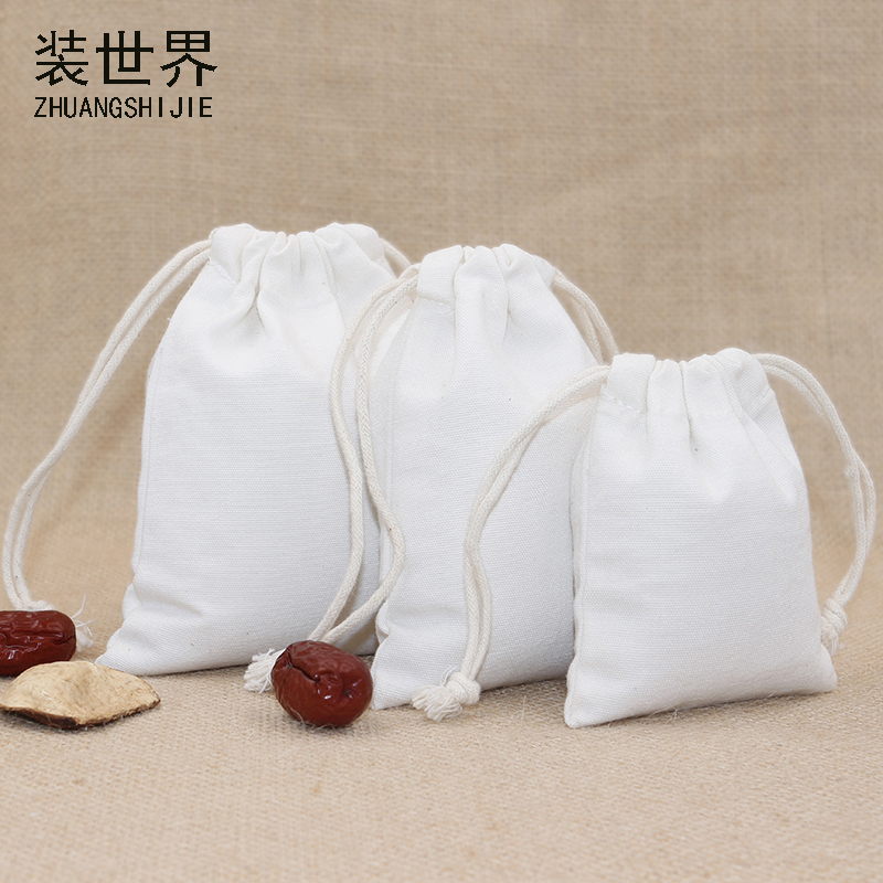 3pcs/lot  14.5*19.5cm Canvas Bag Pouch Wholesale Custom Logo Print Factory Drawstring Food Cloth Gift Bags Packing Bags