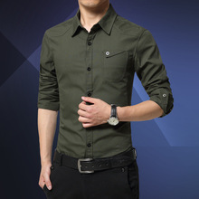 New men's shirt sleeve shirt Mens Cotton Shirt business Korean men slim military style 307