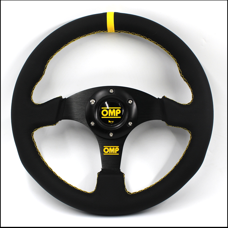 Car accessories E46 Steering-wheel 350MM Racing Aluminum Frame Light Weight 6-Hole Steering Wheel Modified Jdm (Yellow)
