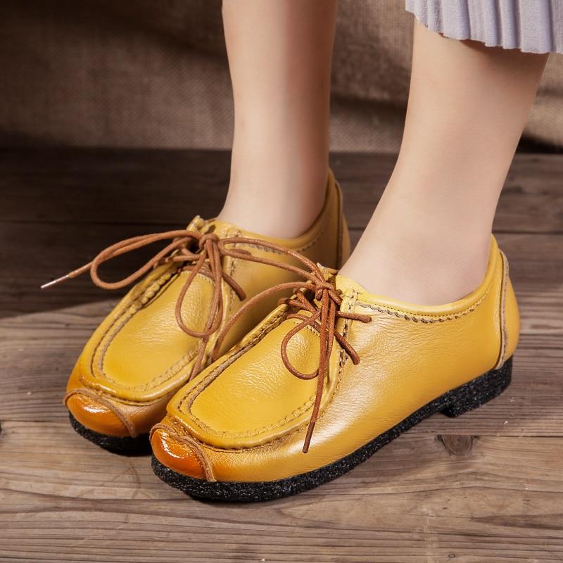 De Primavera Casuales Mano red Hechos Cuero Suave Retro Y Zapatos Señora A brown Yellow Otoño 100 Mujer Plus 52 Moda Genuino Tamaño black Mocasines XwT5qW7