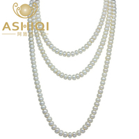 ASHIQI 90cm/120cm Natural Freshwater Pearl Necklaces Jewelry 3 Rows Sweater Chain Long Necklaces Woman 2019 Mother's day Gift