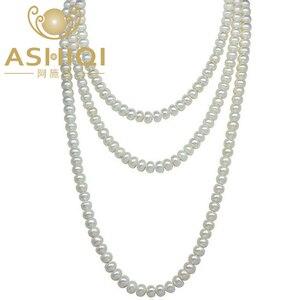 Image 1 - Женское Ожерелье из жемчуга ASHIQI, длинное ожерелье из натурального пресноводного жемчуга 90 см/120 см, 3 ряда цепочек на свитер, подарок на день матери 2019