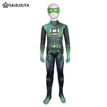 Дети супергерой Зеленый Фонари Хэллоуин Косплэй костюм дети зеленый Фонари лайкра спандекс узор Zentai Боди для детей