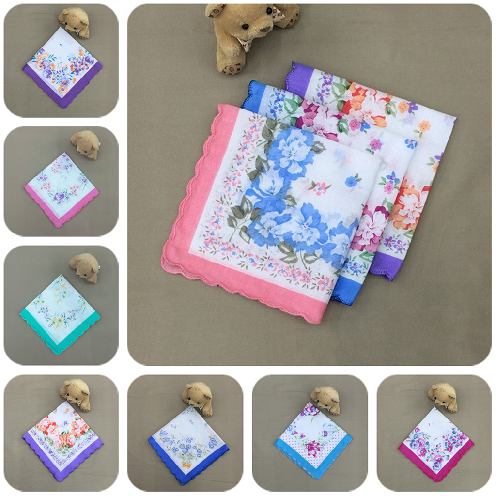12pcs Ladies Vintage Handkerchiefs Women Hankie Floral Handkerchief Wedding Party Fabric Hanky Wholesale