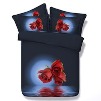 3D Red Rose Comforter set Bedding sets duvet cover bed in a bag California King queen size full twin roses department store 5PCS