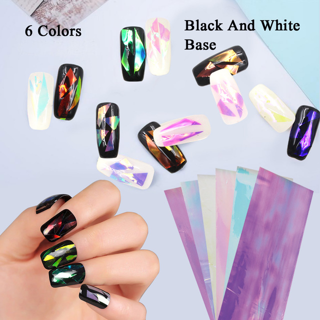 6 Pack Nail Sticker Broken Gl Water Decals Mirror Effect For Nails Art Fancy Punk Galaxy