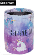 believe unicorn Barrel Cosmetic Bag nylon Toiletry kits Drawstring Elegant Drum Washing Bag Makeup Organizer Storage face totes