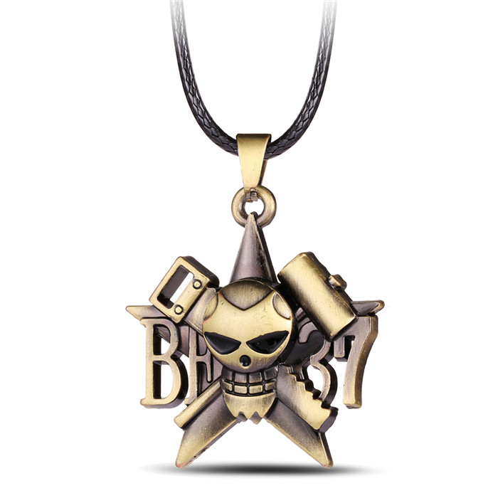 cb9f14628 H&F hot anime One piece antique brown Franky Pirates Skull pendant &  necklace with black leather rape 2016 fashion jewelry