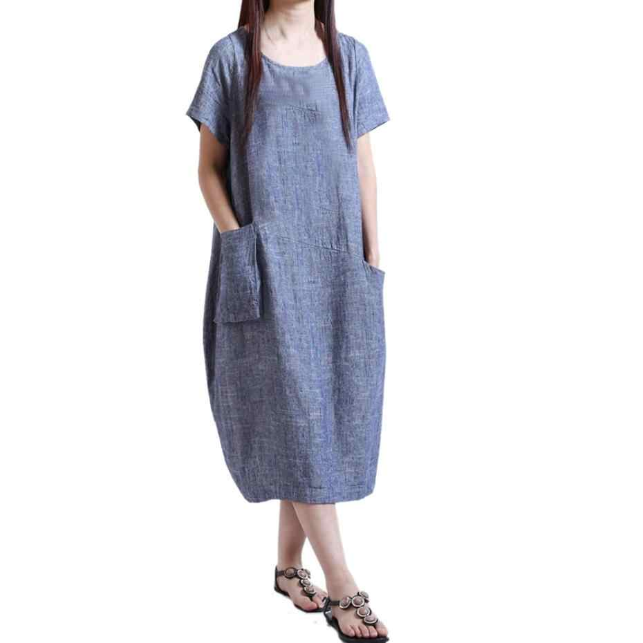 ae1d997b40b3 ... Cotton Linen Kaftan Dress Short Sleeve Loose Pocket Long Bohe Dresses  Women Casual Straight Dresses Floor ...
