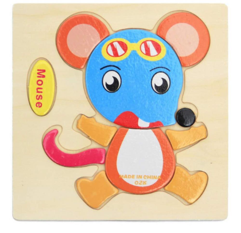 3D деревянные головоломки, игрушки для детей, Деревянные 3d Мультяшные головоломки с животными, интеллектуальные детские развивающие игрушки для детей - Цвет: Светло-желтый