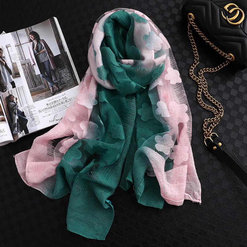 Lamaxpa 2019 nova moda feminina corte flores rendas oco gradiente lenço de seda primavera xales e envoltórios toalha femme praia sjaals