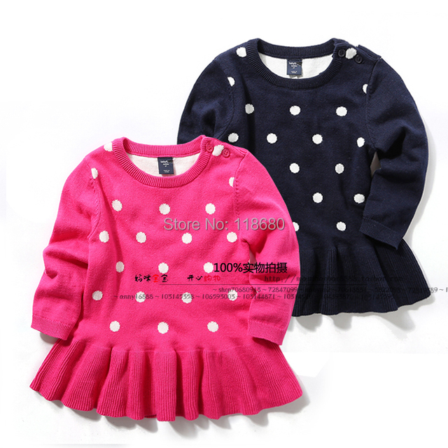 new 2015 Spring autumn sweaters children clothing baby knitted sweater fashion girls polka dot Knitting Shirt dress pullover