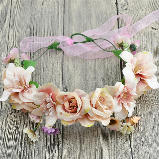 Guirnalda de la boda de Rose Pelo de La Flor de la Guirnalda de Flores Corona de Tela Cabeza de Halo Celada Hairband Nupcial