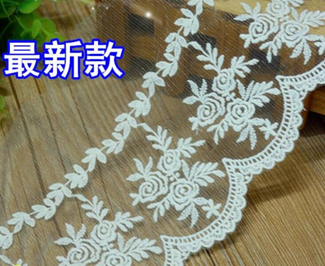 Free Shipping 5 yards/Lot Embroidered Lace Trim White Tulle Lace Trim  Venice Lace 13cm