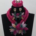 Moda rosa color de rosa nupcial nigeriano africanos joyería conjunto Teal broche de la flor del collar pendientes africanos joyería conjunto envío gratis WD252