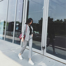 Two piece set top and pants2019 female autumn fashion spring new womens slim suit casual 9 pants two-piece