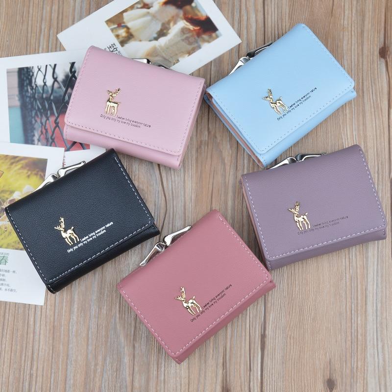 Cute Deer trifold Women Mini Short Wallet PU Leather Money mini bag Fold Clutch Card Holder coin hsap sale korean small Purse