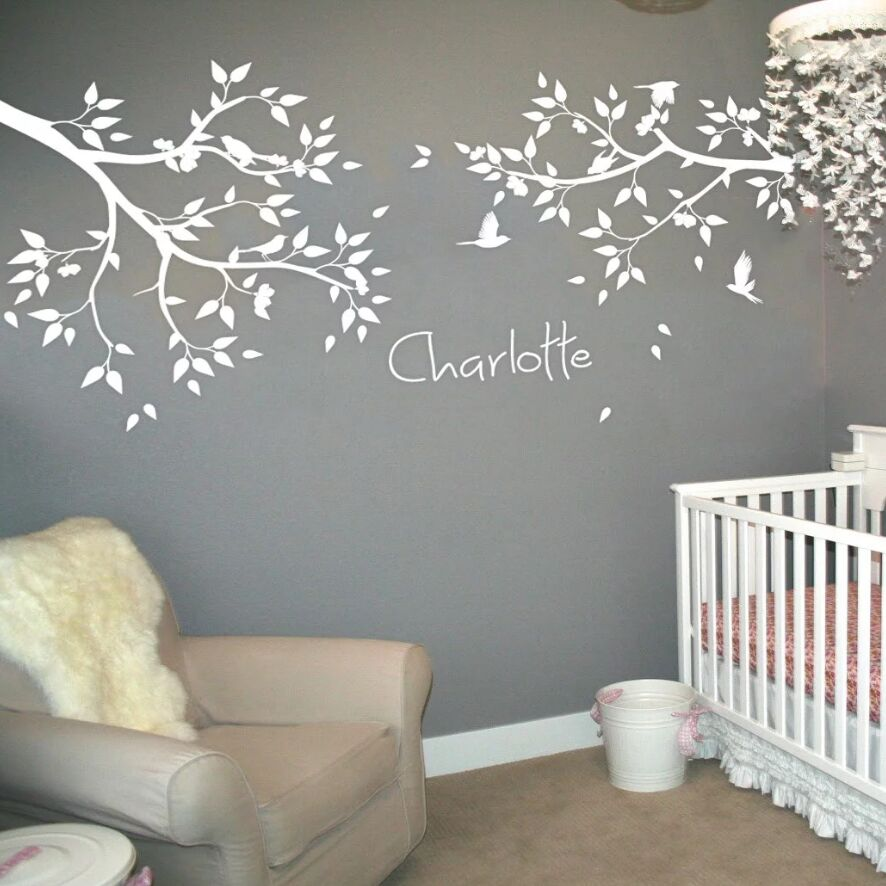 Nursery Branch Wall Sticker Personalized Baby Name Decal Kids Room Decor Leaves Birds Mural Vinyl Ay1337