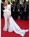 2016 Прибытие Sexy Шифон Этаж Длина Знаменитости Платья Красивые Полный Рукава Red Carpet Платье Знаменитости