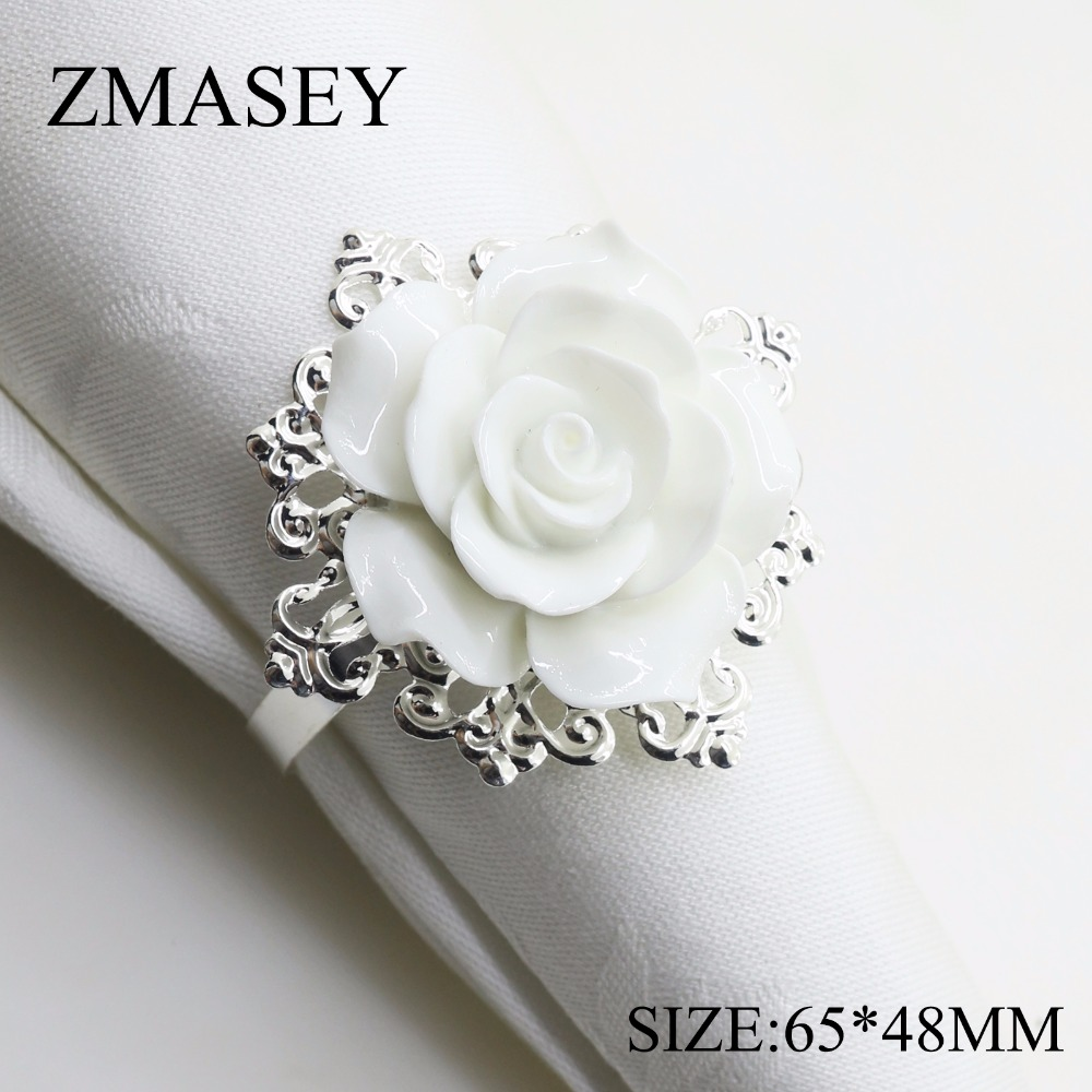 (68666- Iron Ring) 65*48mm 4pcs / 6pcs White Resin Rose Napkin Ring For Wedding Table Decoration,nickle Or Rose Gold Plating