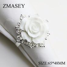 68666-железное кольцо) 65*48 мм 4 шт./6 шт. белое полимерное розовое кольцо для салфетки для украшения свадебного стола, никелированное или розовое золото